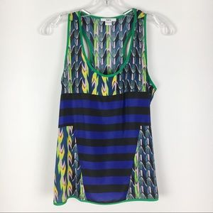 Bar III Abstract Print & Blue Stripe Tank Top S